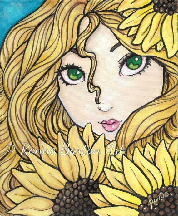 Fairy w// Butterfly Mask gothic big eye art CANVAS PRINT