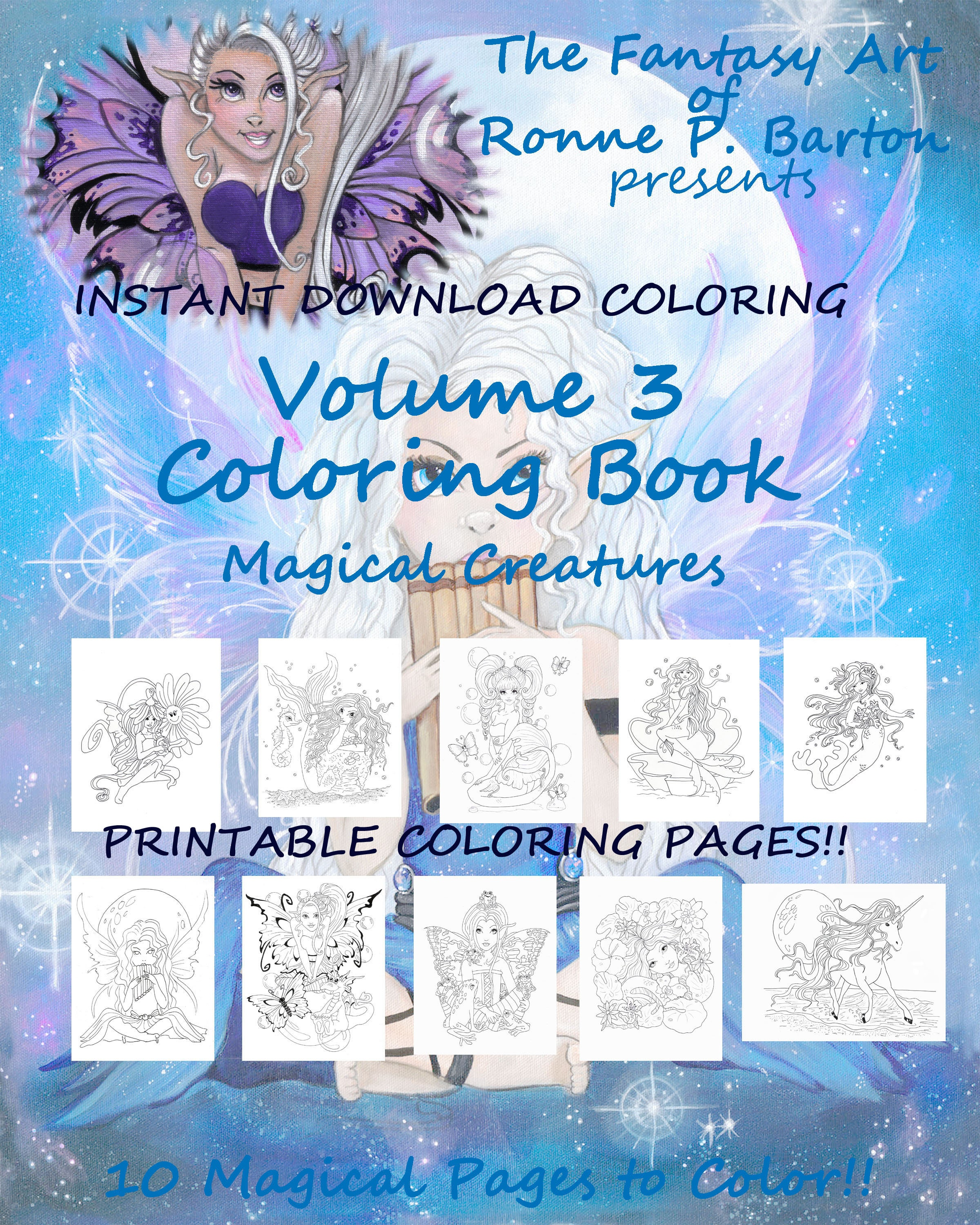 PRINTABLE PDF Fairy Coloring Book Pages Sheets Unicorn | Etsy