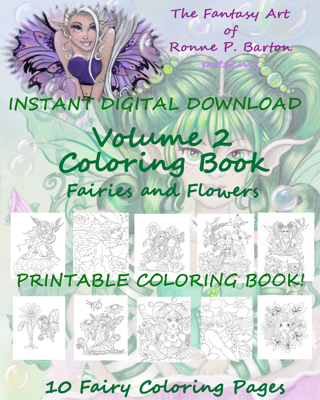 PRINTABLE PDF Fairy Coloring Book Fairy Fantasy Instant   Etsy