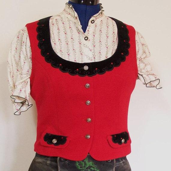 Dirndl waistcoat, red jersey, velvet, size 42/M