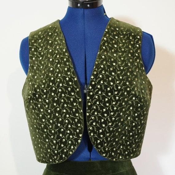 Dirndl Waistcoat, velvet, green, size 38/S