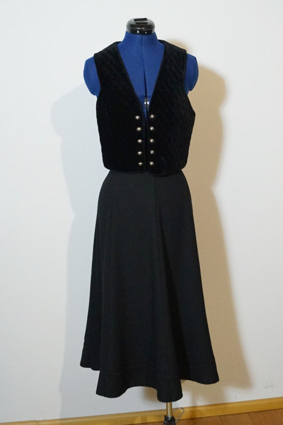 Loden two-piece dress, suit with flared skirt and