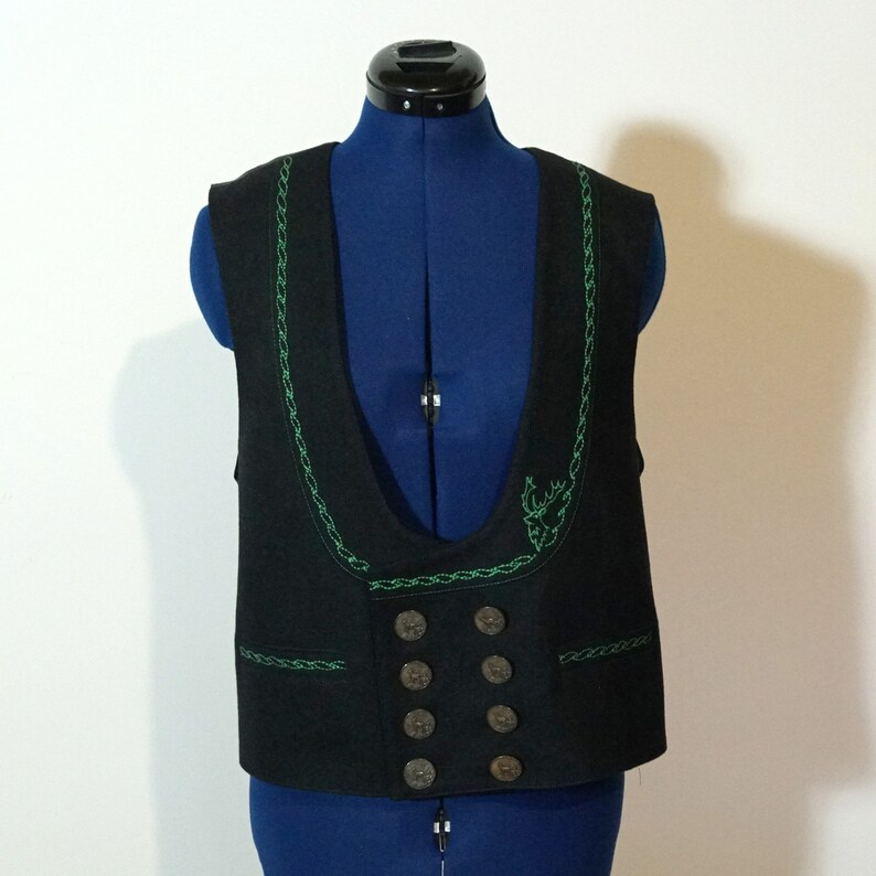 black Dirndl waistcoat size 48XL Loden