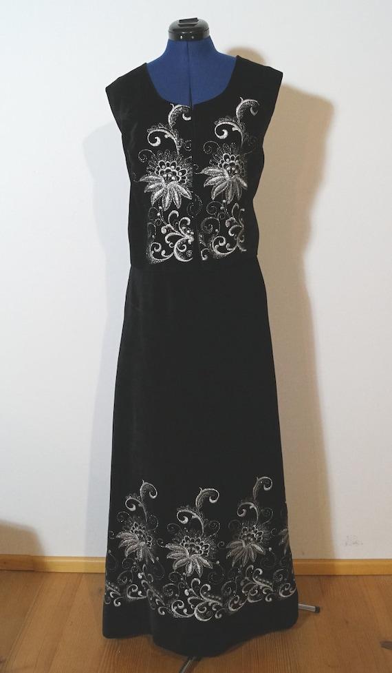 Dirndl two piece dress velvet, black velvet dress,
