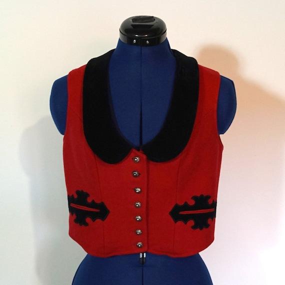 Dirndl waistcoat, red loden, velvet, size 40/M