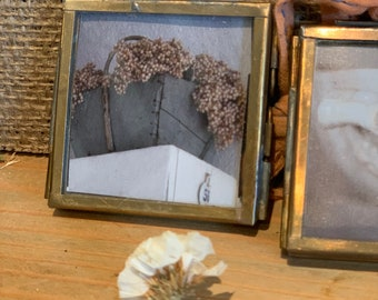 Tiny brass frames with Brocante finds