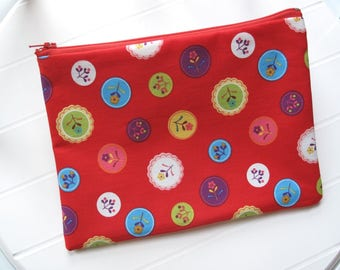 Red Pouch Makeup organizer or Cosmetic case