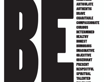 Inspirational New Years Resolution Black & White Graphic Words to Live by Custom Design