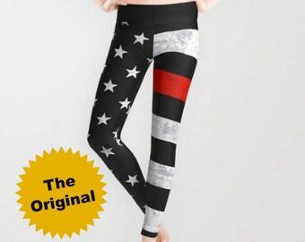 Thin Red Line Leggings or Capri Leggings - American Flag