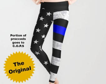 Thin Blue Line Leggings, Capri Leggings - American Flag