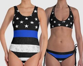 fee5d5914c Thin Blue Line Bathing Suit or Bikini - Swim Suit