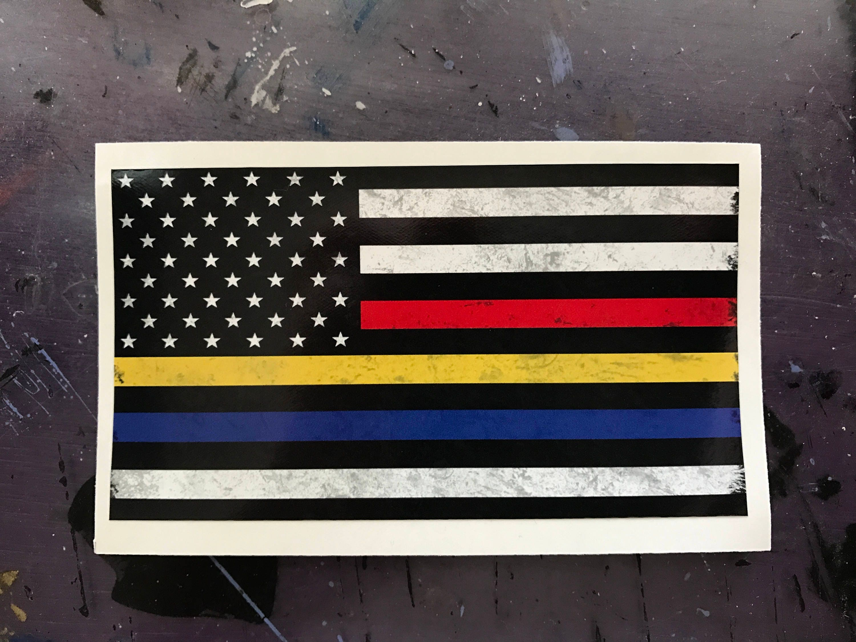 Thin Blue Line Thin Red Line Thin Gold Line Sticker  72c2d644fb6