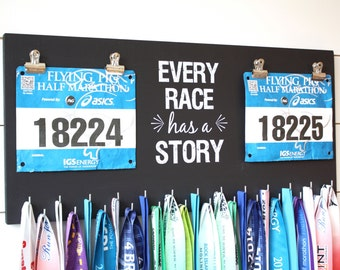 Race Bib and Medal Holder - Every Race Has a Story - Extra Large Size