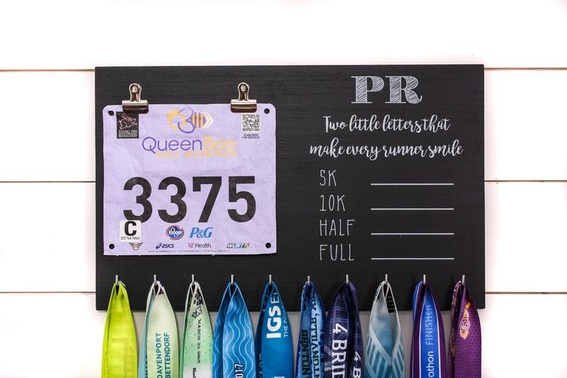 f4acf77351d5 PR Race Bib and Medal Holder On Chalkboard with feminine fonts | Etsy