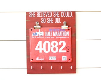 Race Bib and Medal Holder - She Believed She Could So She Did