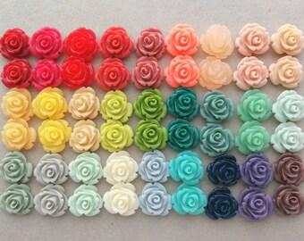 Sale 6pcs Hotpink Flower Cabochons RESI-A926