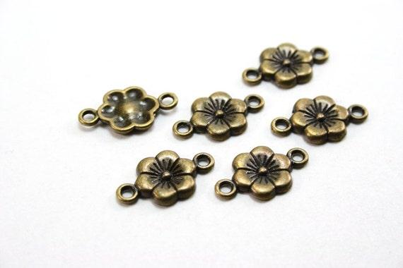 10 versiones como conectores para 12 mm cabuchons en vintage bronce