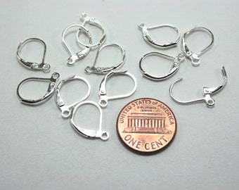 24 pcs Earring Hooks - Silver Earwires - Lead Free and Cadmium Free - Leverback style