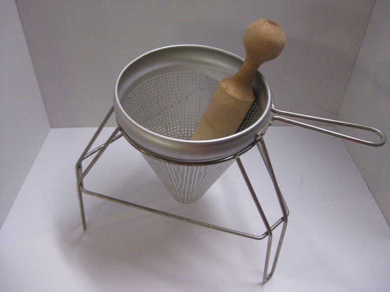Primitive Strainer With Wooden Pestle Vintage Canning and Cooking Strainer and Sieve