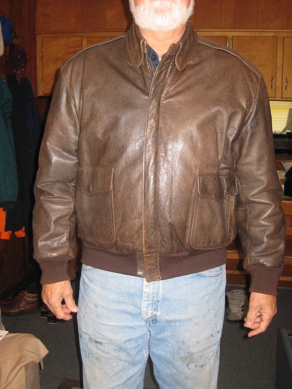Mens Leather Bomber Jacket, LL Bean Vintage 1970's