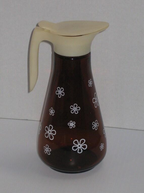 Vintage Amber verre sirop, pichet pot à lait