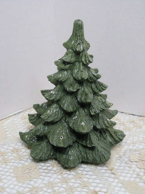 Vintage Ceramic Christmas Tree Christmas Village Light Up Tree Christmas Decoration