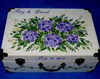 Decorative Painted Picture Frame Wedding Photo Picture Organizer Holder Purple Hydrangeas Bridal Shower Gift 5x7 Distressed Crackle