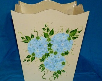 Decorative Wood Waste Basket Custom Painted Trash Can Garbage Can Decorative Floral Office Bedroom Bathroom Home Decor Housewarming Gift
