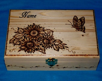 Decorative Wooden Tea Box Wood Burned Tea Chest Butterfly Engraved Tea Storage Gift