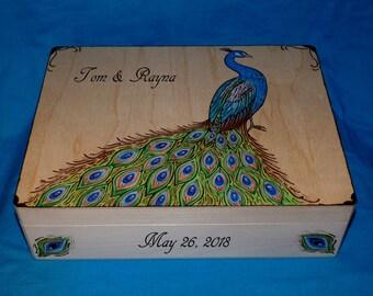 Peacock Wedding Card Box Gift Personalized Keepsake Box Wood Burned Card Box Large Suitcase Memory Box Wooden Money Box Peacock Wedding Gift
