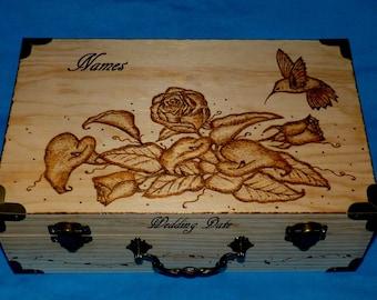 Custom Rustic Wedding Gift Card Box, Wedding Card Holder, Wood Burned Personalized Wedding Keepsake Suitcase Trunk, Decorative Floral Box