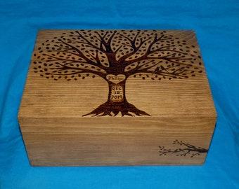 Decorative Wooden Wedding Gift Box, Personalized Rustic Handmade Wedding Keepsake Card Box, Wedding Tree Guest Box, Wood Burned Suitcase