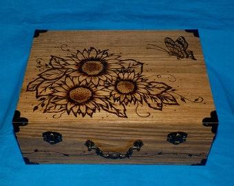 Custom Wood Wedding Gift Box, Personalized Rustic Wedding Card Holder, Large Sunflower Wedding Keepsake Suitcase Box, Decorative Trunk
