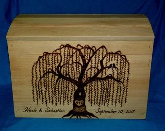 Decorative Wood Wedding Card Box Gift, Personalized Wood Burned Rustic Wedding Box, Large Custom Wooden Chest, Wedding Tree Birds Keepsake