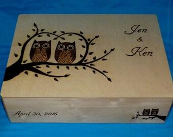 Decorative Wedding Card Holder Wedding Keepsake Card Box Large Wood Burned Gift Box Wooden Storage Personalized Custom Bridal Shower Gift