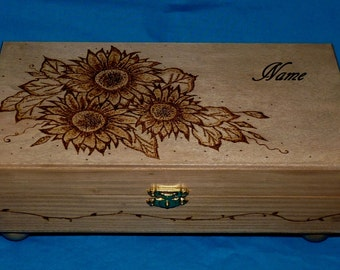 Decorative Wooden Tea Box Wood Burned Tea Chest Sunflower Carved Tea Storage Custom Personalized Tea Gift Sunflowers Gift