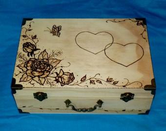 Wedding Box Wood Card Box Roses Wedding Keepsake Box Personalized Wood Burned Suitcase Box Floral Couples Gift Hearts Ready To Ship