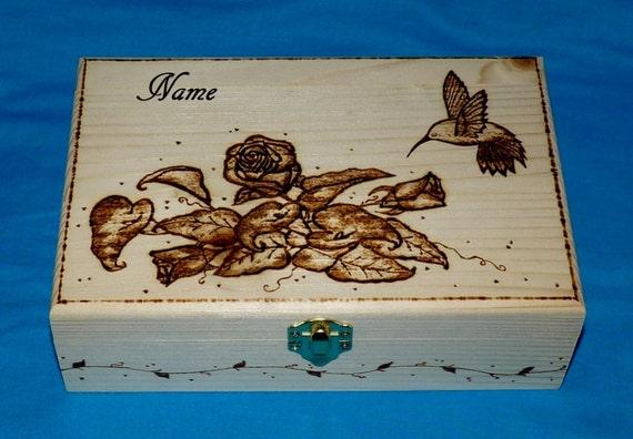 Black Wood Hummingbird Lover gift Small Jewelry Box Hummingbird gift Hummingbird on Sunflower Keepsake box. Valentine Gift