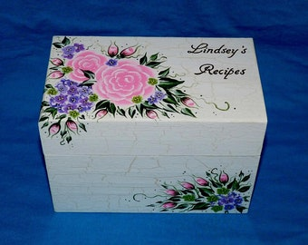 Decorative Recipe Gift Box Personalized Large Recipe Box 4x6 Floral Wood Recipe Card Holder Handmade Recipe Box Bridal Shower Gift For Her
