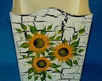 Wood Trash Can Decorative Hand Painted Waste Basket Sunflowers Garbage Can Custom Shabby Chic Office Bathroom Home Decor Housewarming Gift