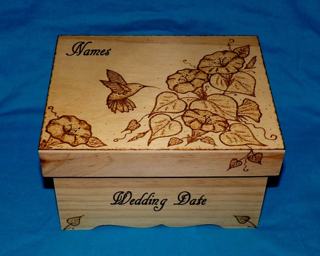 Wedding Box Decorative Hummingbird Card Box Wood Burned Etsy Gorgeous Decorative Keepsake Memory Boxes