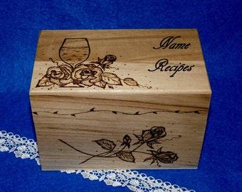 Decorative Wood Burned Handmade Wedding Recipe Card Box, Wine & Roses Rustic Personalized Wooden Recipe Card Holder, Owls Bridal Shower Gift