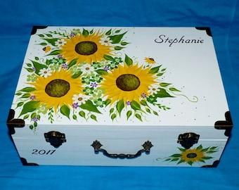 Romantic Personalized Wedding Card Holder, Decorative Painted Sunflower Wedding Keepsake Box, Handmade Wood Floral Suitcase Box, Bride Gift