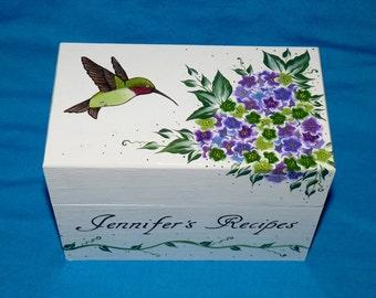 Pretty Personalized Handmade Wood Recipe Box Gift, Hummingbird Recipe Card Holder, Custom Painted