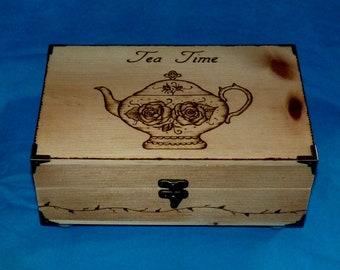 Decorative Wood Tea Box Gift, Handmade Tea Holder, Burned Tea Chest Wooden Tea Storage 6 Dividers Personalized Tea Pot Bridal Gift Box