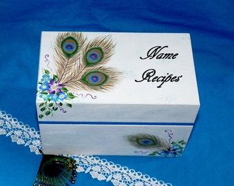 Pretty Personalized Handmade Wood Recipe Box Gift, Peacock Wedding Recipe Card Holder, Custom Painted