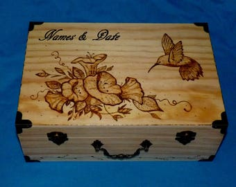 Wedding Card Box Wood Card Box Hummingbird Keepsake Box Personalized Gift Wood Burned Box Love Letter Memory Box Floral Ready to Ship
