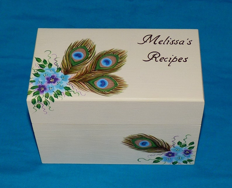 31aaaa2d100 Hand Painted Personalized Peacock Wedding Recipe Box Custom