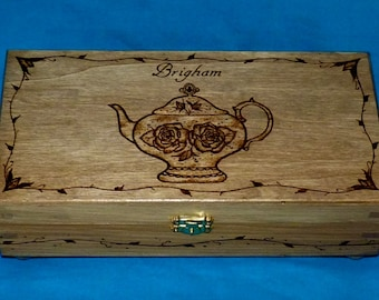 Decorative Wood Tea Box Wood Burned Tea Chest Tea Pot Engraved Wooden Tea Storage Unique Gift