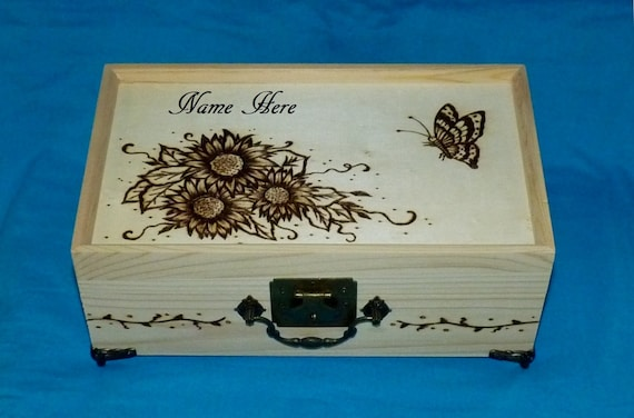 Personalized Wood Jewelry Box Gift Wooden Jewelry Holder Sunflower Gift Custom Bridal Gift Unique Gift